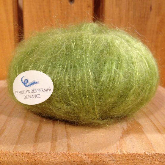 pelote mohair et soie couleur vert anis