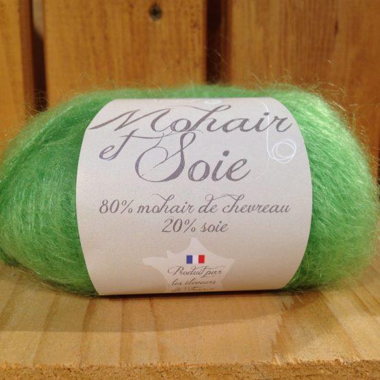 pelote mohair et soie couleur vert granny