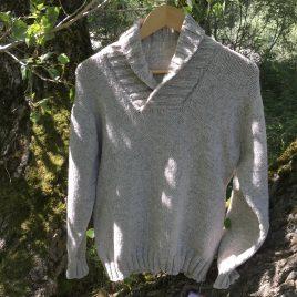 Pull Mérinos homme col châle (gris clair)