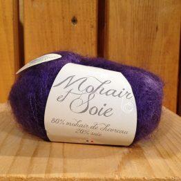 pelote mohair et soie couleur myrtille