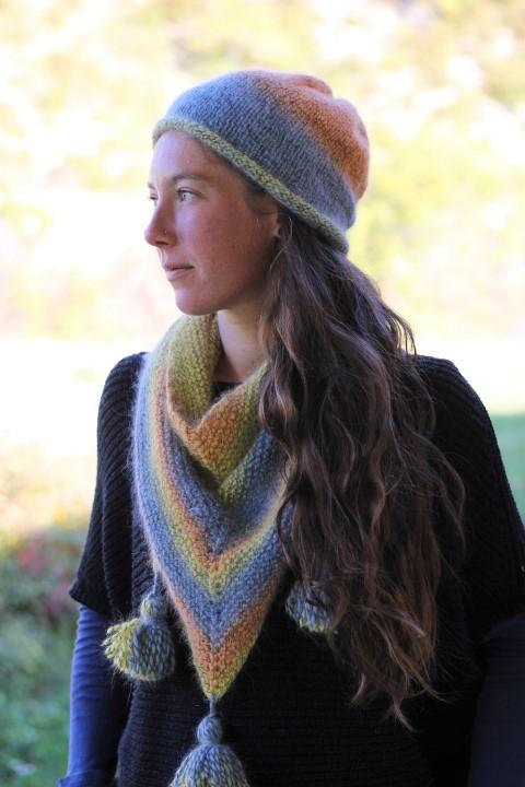 kit tricot angora : bonnet et chèche