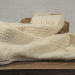 chaussettes longues en mohair français écru