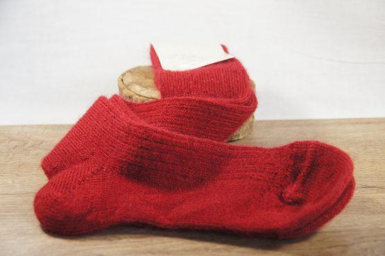 chaussettes longues en mohair français rouge grenade