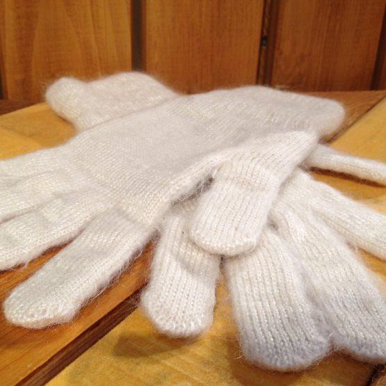 gants blanc en mohair et soie