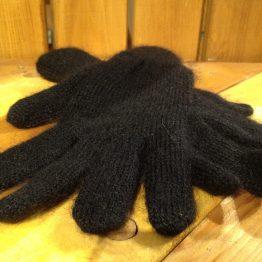 Gants noir en mohair et soie