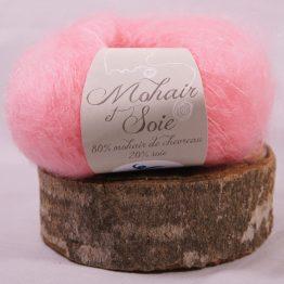 pelote mohair et soie rose andalou