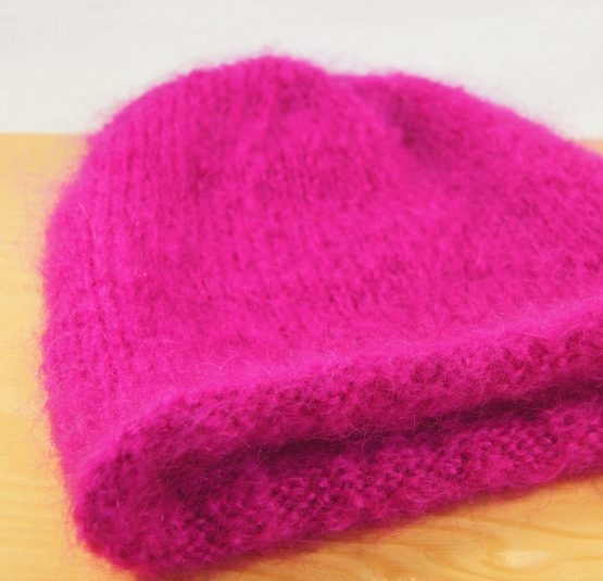bonnet pur mohair rose thyrien