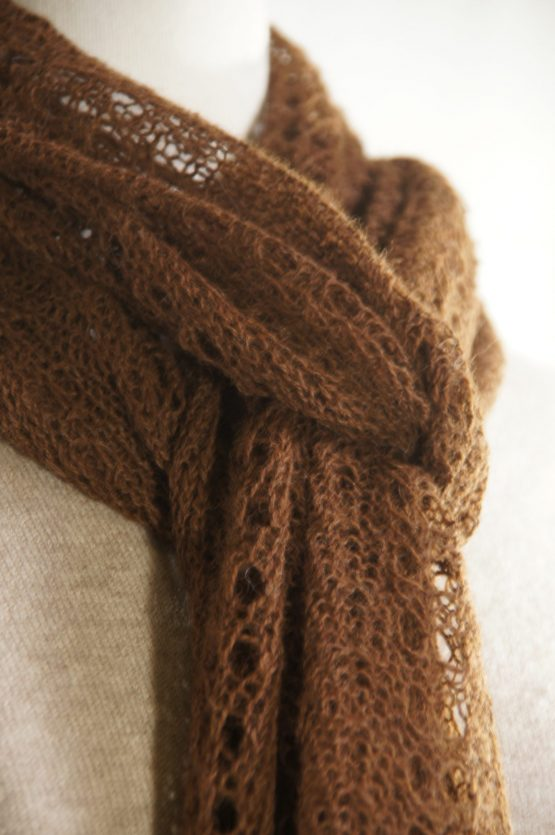 écharpe dentelle alpaga français marron